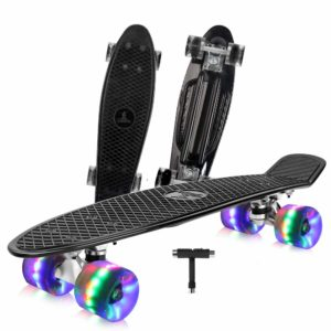 BELEEV Skateboard 22 inch Complete Mini Cruiser Retro Skateboard for Kids