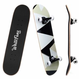 WhiteFang Skateboards for Beginners, Complete Skateboard 31 x 7.88, 7 Layer Canadian Maple Double Kick for Kids